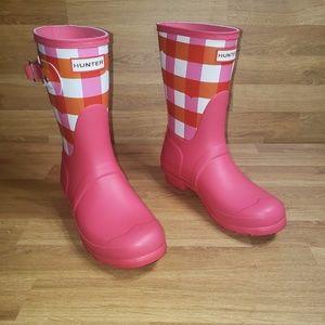 Hunter Original Short Gingham Printed Rain Boots 7